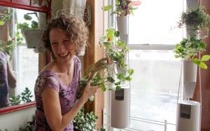 kickstarter windowfarm - raamtuin met lachende vrouw