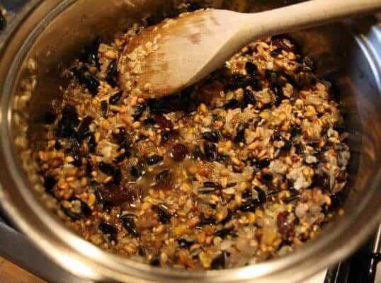 zelf vetbollen maken voor vogels in de winter - mixen