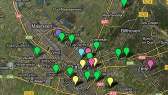 Kaart stadslandbouw programma Utrecht