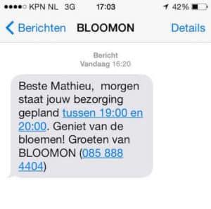 Ideaal: net als de tandarts tegenwoordig stuurt ook BLOOMON een sms een dag voor de afspraak